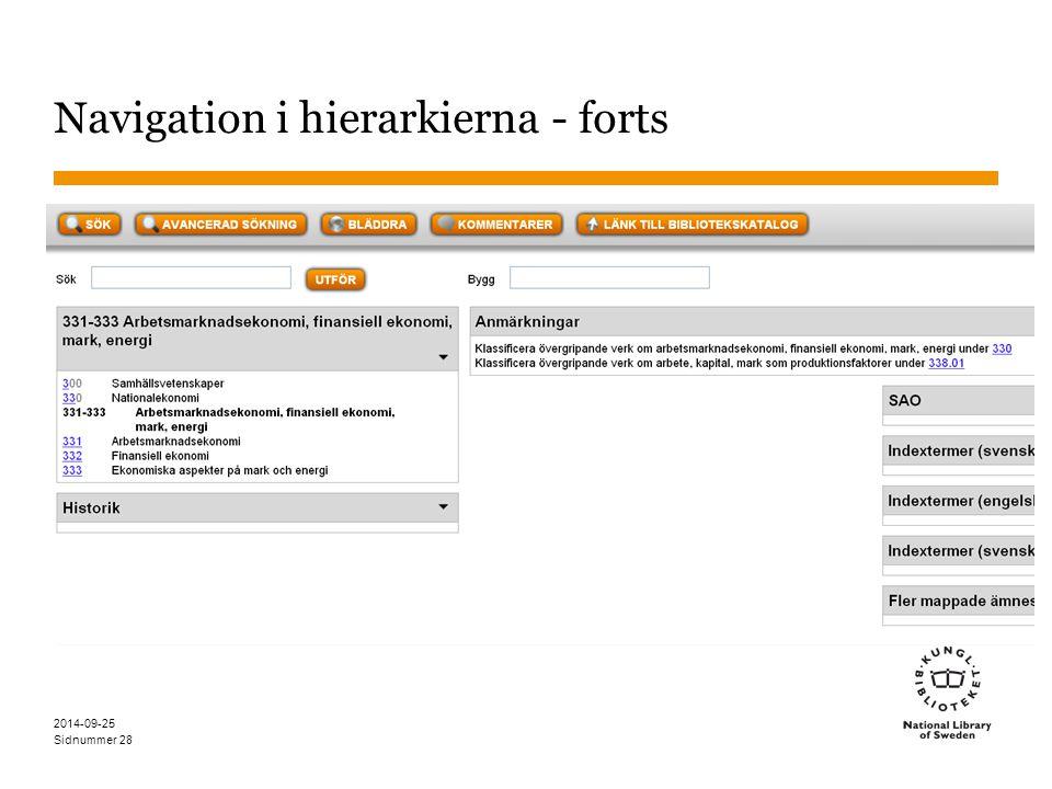 Sidnummer 2014-09-25 29 Navigation i hierarkierna - tabellerna