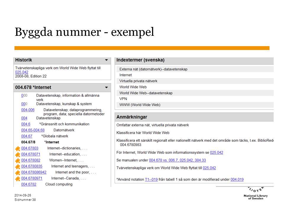 Sidnummer 2014-09-25 39 Byggda nummer – svenskt exempel