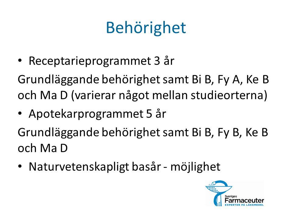 Behörighet Receptarieprogrammet 3 år Grundläggande behörighet samt Bi B, Fy A, Ke B och Ma D (varierar något mellan studieorterna) Apotekarprogrammet