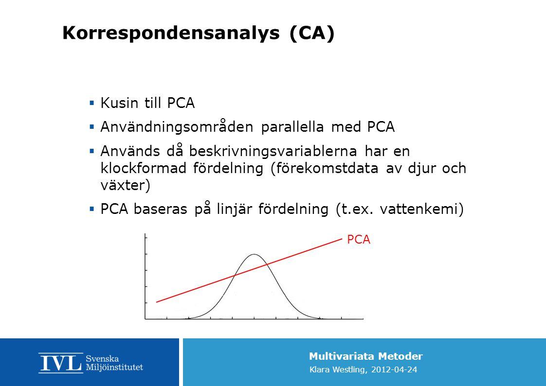 Multivariata Metoder Klara Westling, 2012-04-24 Korrespondensanalys (CA)  Kusin till PCA  Användningsområden parallella med PCA  Används då beskriv