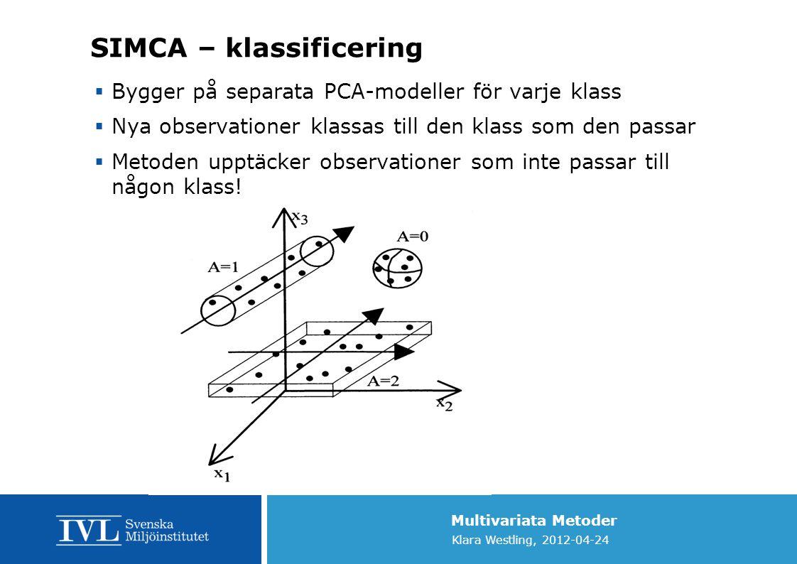 Multivariata Metoder Klara Westling, 2012-04-24 SIMCA – klassificering  Bygger på separata PCA-modeller för varje klass  Nya observationer klassas t