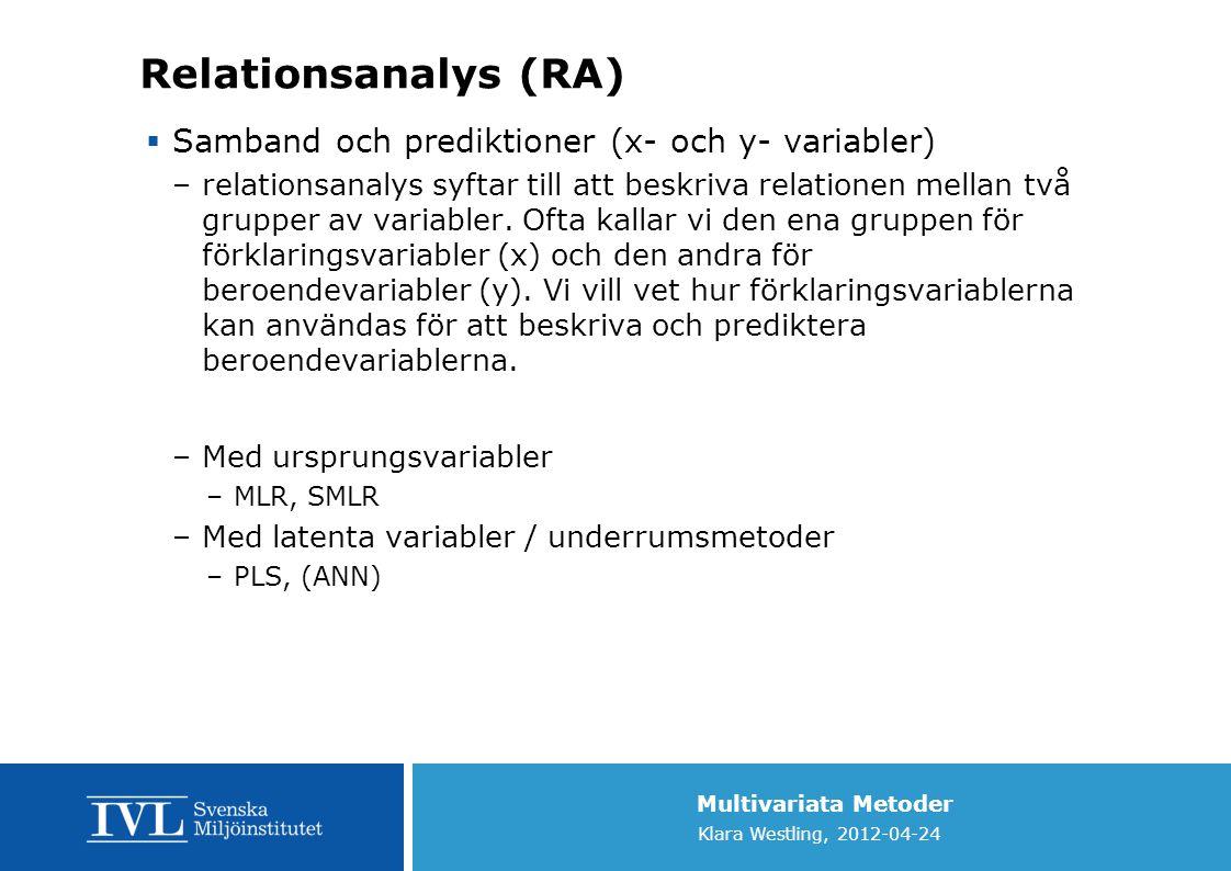 Multivariata Metoder Klara Westling, 2012-04-24 Relationsanalys (RA)  Samband och prediktioner (x- och y- variabler) –relationsanalys syftar till att