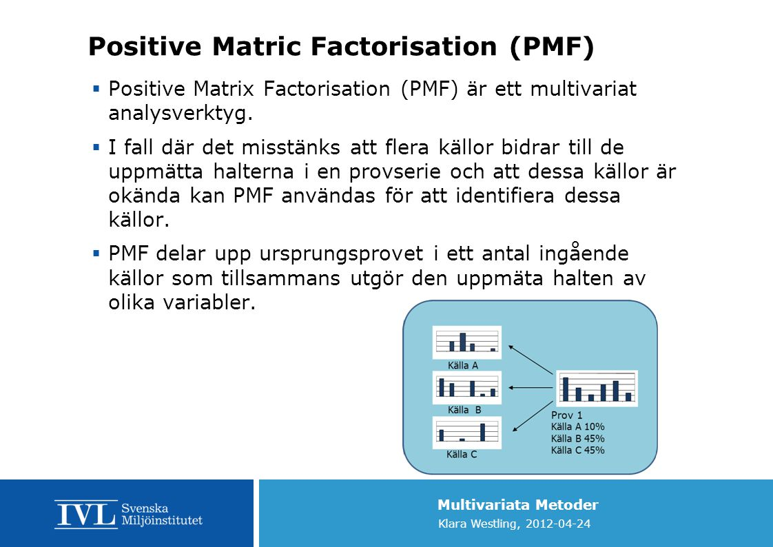 Multivariata Metoder Klara Westling, 2012-04-24 Positive Matric Factorisation (PMF)  Positive Matrix Factorisation (PMF) är ett multivariat analysverktyg.