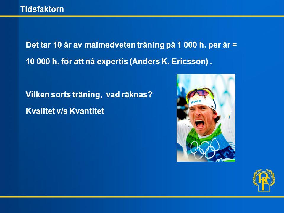 Tidsfaktorn Det tar 10 år av målmedveten träning på 1 000 h.