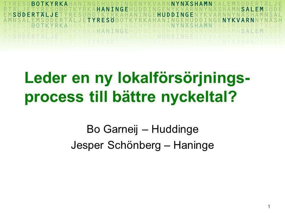 1 Leder en ny lokalförsörjnings- process till bättre nyckeltal? Bo Garneij – Huddinge Jesper Schönberg – Haninge