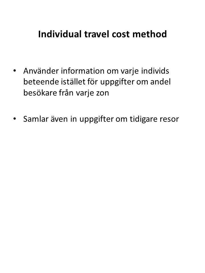 Individual travel cost method Använder information om varje individs beteende istället för uppgifter om andel besökare från varje zon Samlar även in u