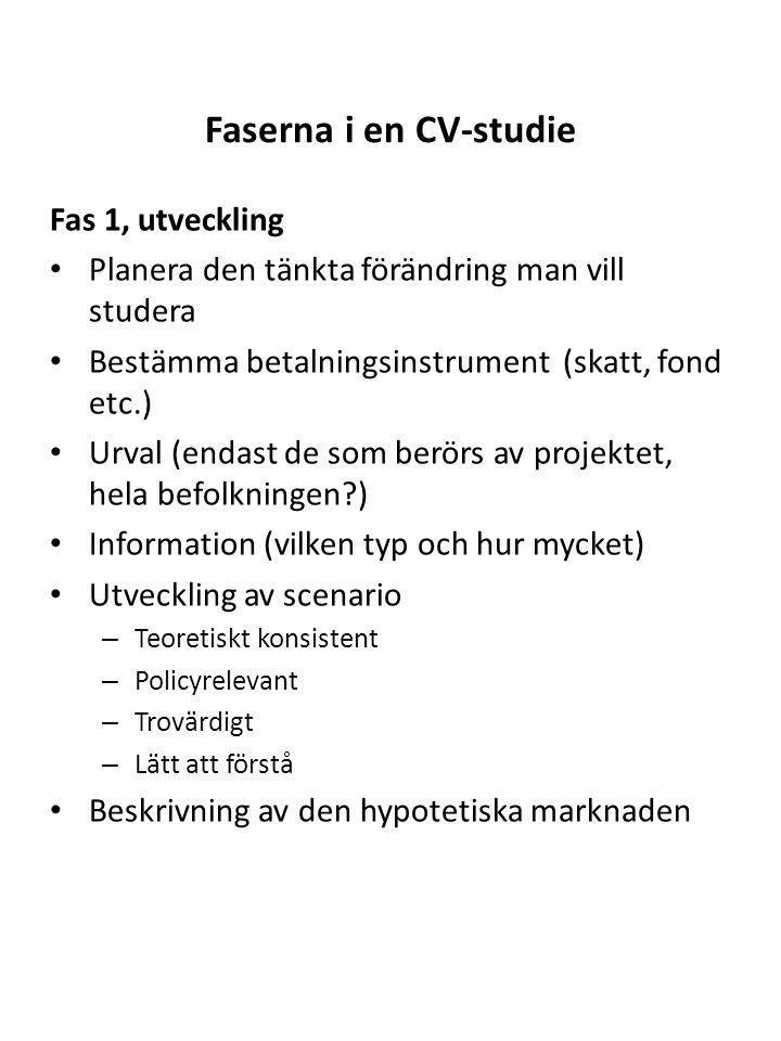 Faserna i en CV-studie Fas 1, utveckling Planera den tänkta förändring man vill studera Bestämma betalningsinstrument (skatt, fond etc.) Urval (endast