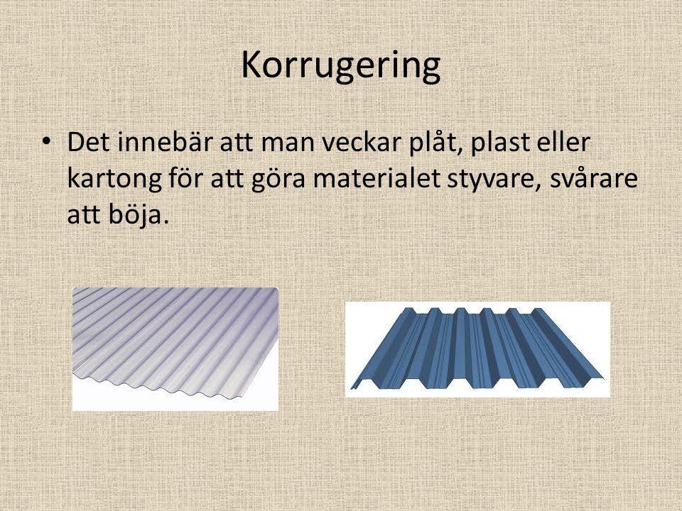 Korrugering Det innebär att man veckar plåt, plast eller kartong för att göra materialet styvare, svårare att böja.