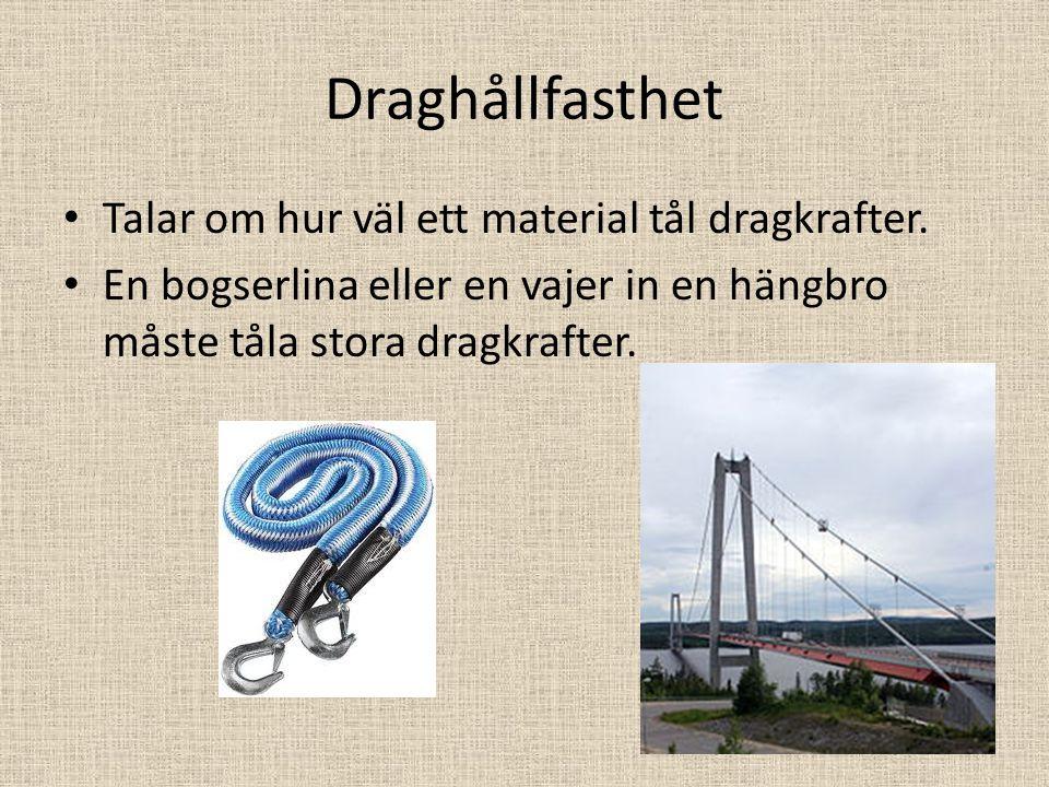 Draghållfasthet Talar om hur väl ett material tål dragkrafter. En bogserlina eller en vajer in en hängbro måste tåla stora dragkrafter.