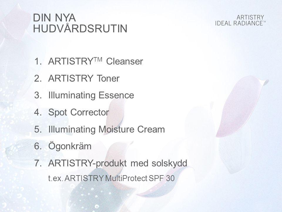 DIN NYA HUDVÅRDSRUTIN 1.ARTISTRY TM Cleanser 2.ARTISTRY Toner 3.Illuminating Essence 4.Spot Corrector 5.Illuminating Moisture Cream 6.Ögonkräm 7.ARTISTRY-produkt med solskydd t.ex.