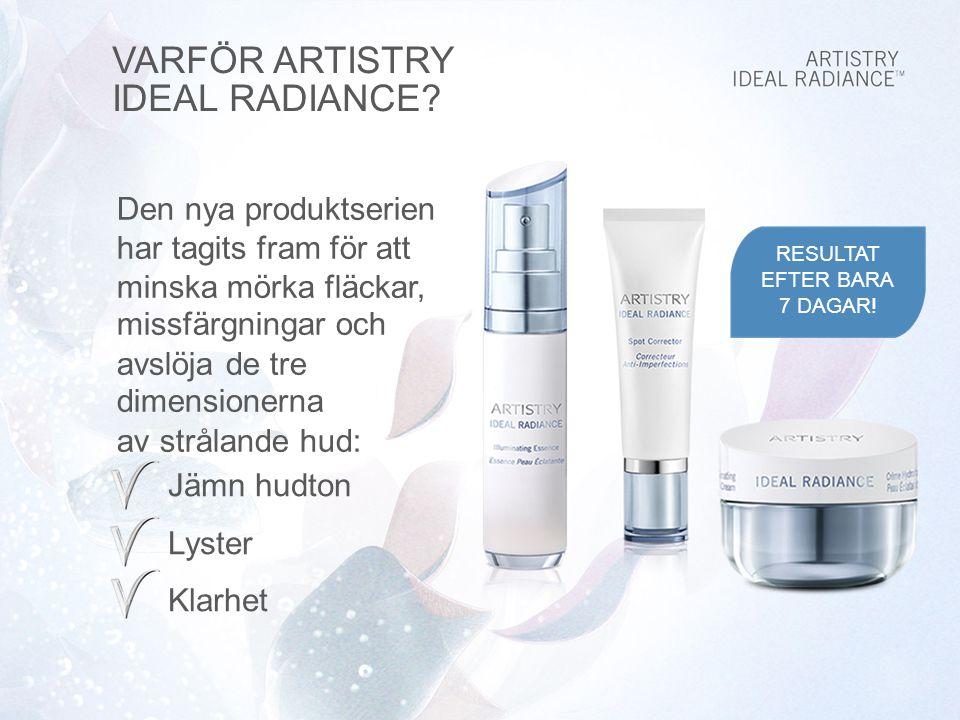Den nya produktserien har tagits fram för att minska mörka fläckar, missfärgningar och avslöja de tre dimensionerna av strålande hud: Jämn hudton Lyster Klarhet VARFÖR ARTISTRY IDEAL RADIANCE.