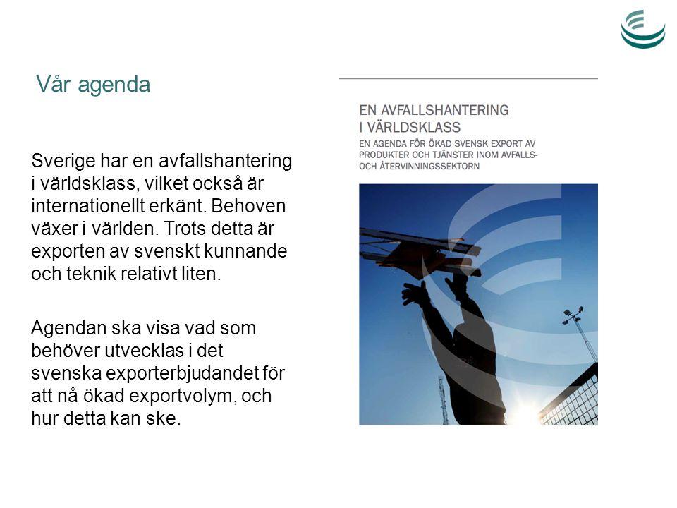 Vår agenda Sverige har en avfallshantering i världsklass, vilket också är internationellt erkänt. Behoven växer i världen. Trots detta är exporten av