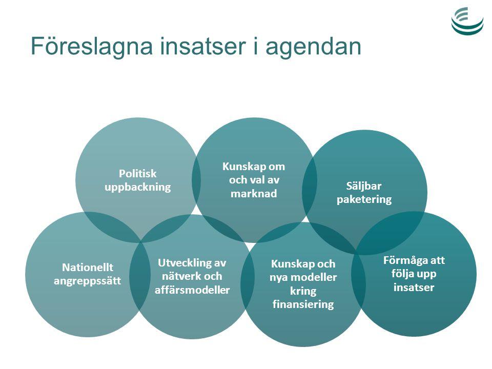 Föreslagna insatser i agendan Politisk uppbackning Nationellt angreppssätt Utveckling av nätverk och affärsmodeller Kunskap om och val av marknad Kuns