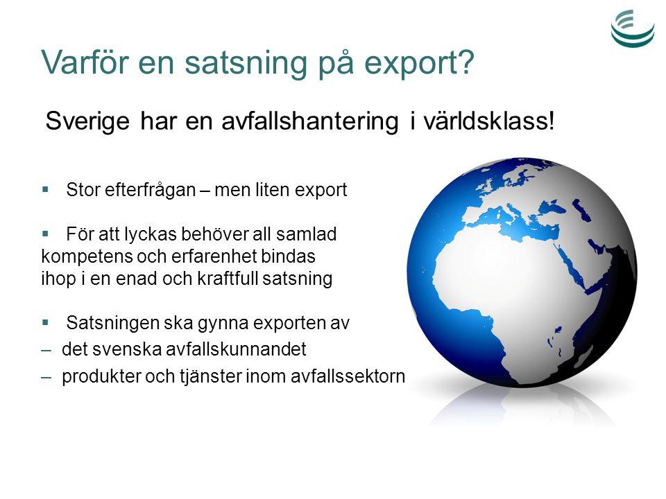 Motiv till export Offentlig sektorNäringslivet Nationella/lokala miljömål Skapa tillväxt och arbetstillfällen nationellt eller i egen kommun/region Utveckla den egna verksamheten genom impulser utifrån Synliggöra och marknadsföra Sverige eller egen region Blir mer attraktiv arbetsgivare Tydliggöra att det kommunala avfallskunnandet har ett värde genom att utföra arbetet på affärsmässiga grunder Kommersiella Skapa egen tillväxt genom att expandera till nya marknader Produktutveckling genom att applicera produkter på nya marknader/mot nya kunder Eget miljö- och CSR arbete Bli mer attraktiv arbetsgivare