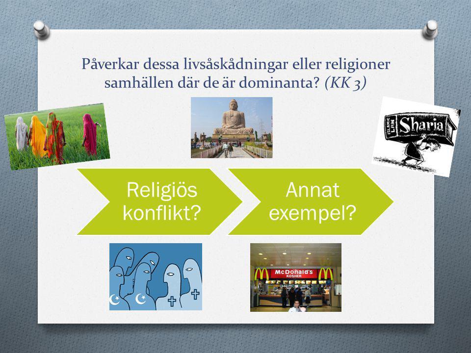 Påverkar dessa livsåskådningar eller religioner samhällen där de är dominanta? (KK 3) Religiös konflikt? Annat exempel?