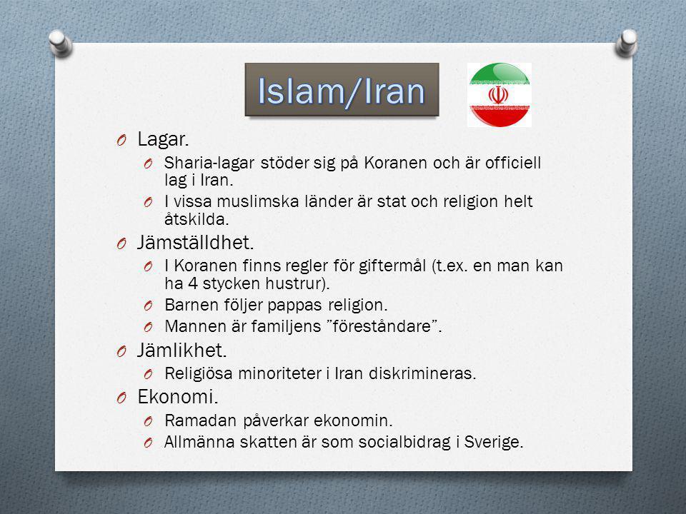 O Lagar. O Sharia-lagar stöder sig på Koranen och är officiell lag i Iran. O I vissa muslimska länder är stat och religion helt åtskilda. O Jämställdh