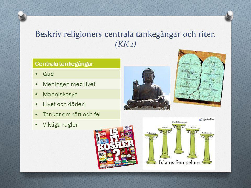 Beskriv religioners centrala tankegångar och riter. (KK 1) Centrala tankegångar Gud Meningen med livet Människosyn Livet och döden Tankar om rätt och