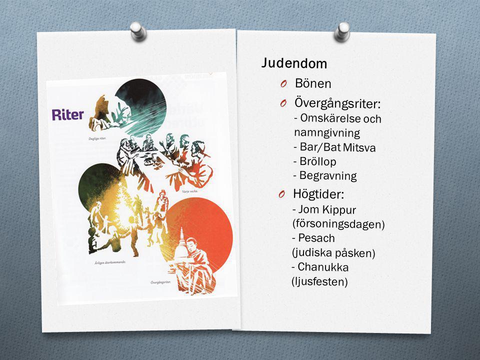 Judendom O Bönen O Övergångsriter: - Omskärelse och namngivning - Bar/Bat Mitsva - Bröllop - Begravning O Högtider: - Jom Kippur (försoningsdagen) - P