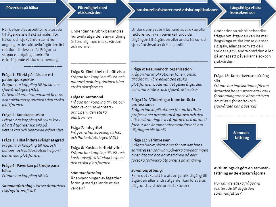 Här behandlas aspekter relaterade till åtgärdens effekt på målen för hälso- och sjukvården samt hur angelägen den aktuella åtgärden är i relation till dessa mål.