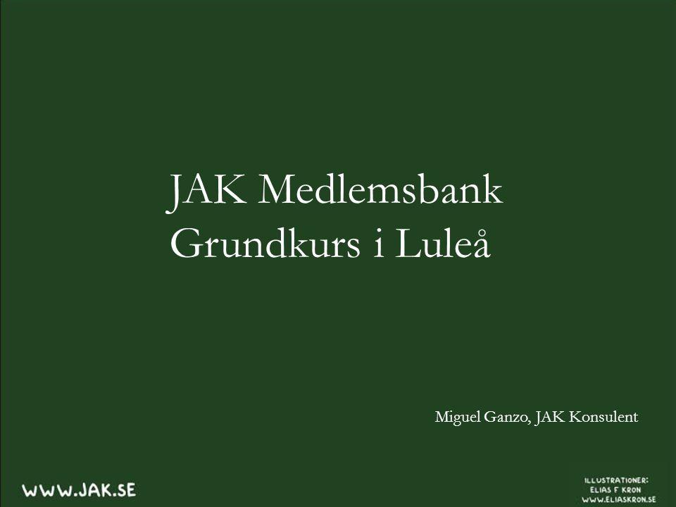 JAK Medlemsbank Grundkurs i Luleå Miguel Ganzo, JAK Konsulent