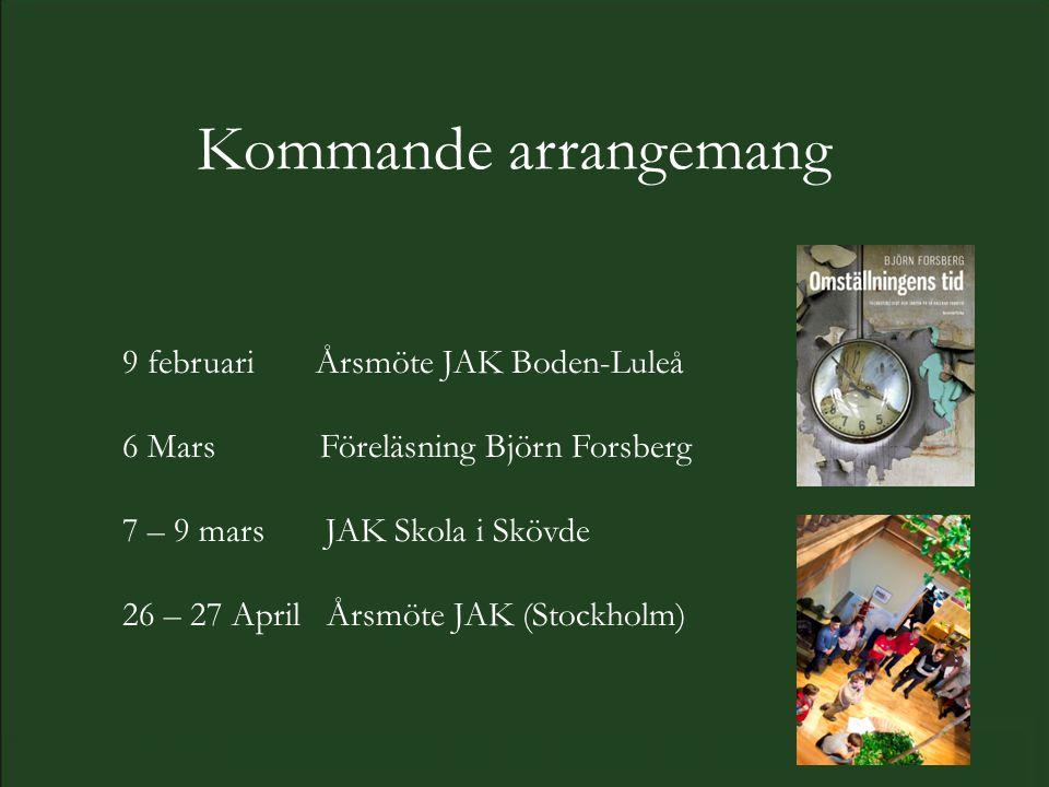 Kommande arrangemang 9 februari Årsmöte JAK Boden-Luleå 6 Mars Föreläsning Björn Forsberg 7 – 9 mars JAK Skola i Skövde 26 – 27 April Årsmöte JAK (Stockholm)