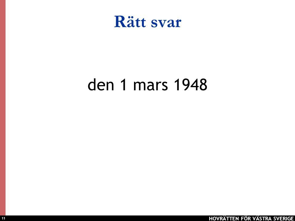 11 Rätt svar den 1 mars 1948 HOVRÄTTEN FÖR VÄSTRA SVERIGE