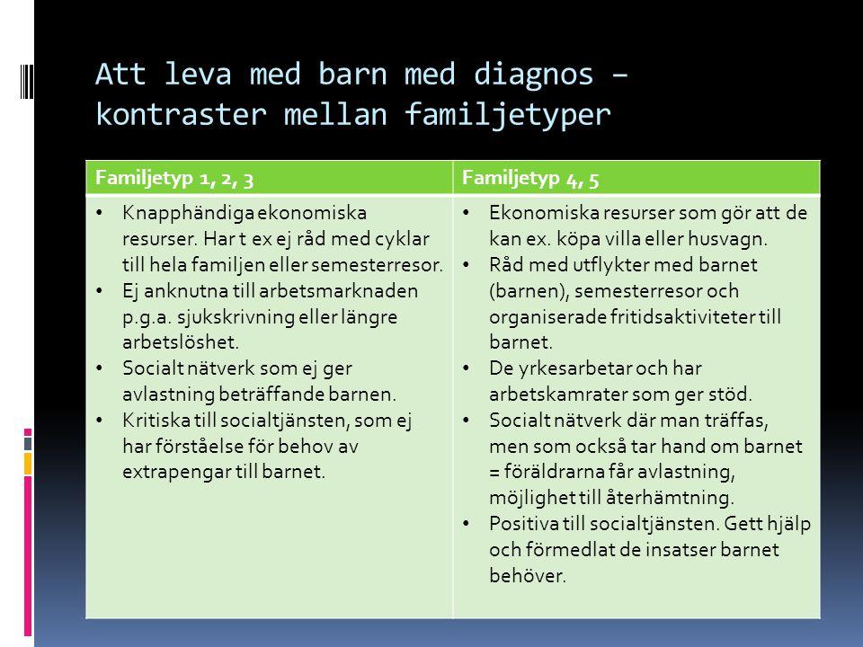 Att leva med barn med diagnos – kontraster mellan familjetyper Familjetyp 1, 2, 3Familjetyp 4, 5 Knapphändiga ekonomiska resurser.