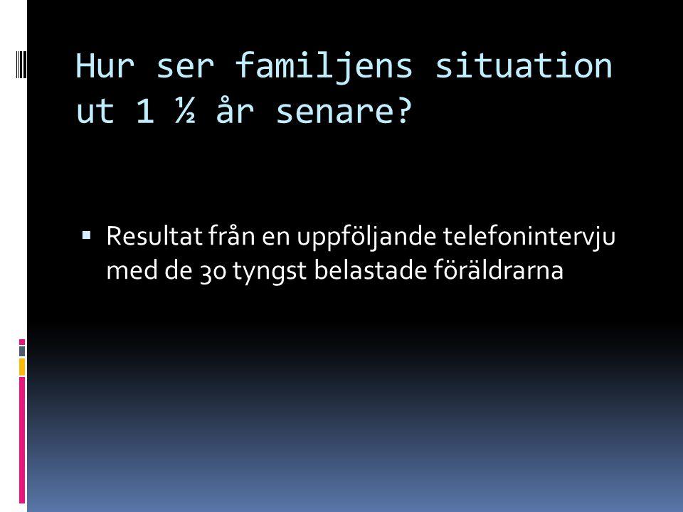 Hur ser familjens situation ut 1 ½ år senare?  Resultat från en uppföljande telefonintervju med de 30 tyngst belastade föräldrarna
