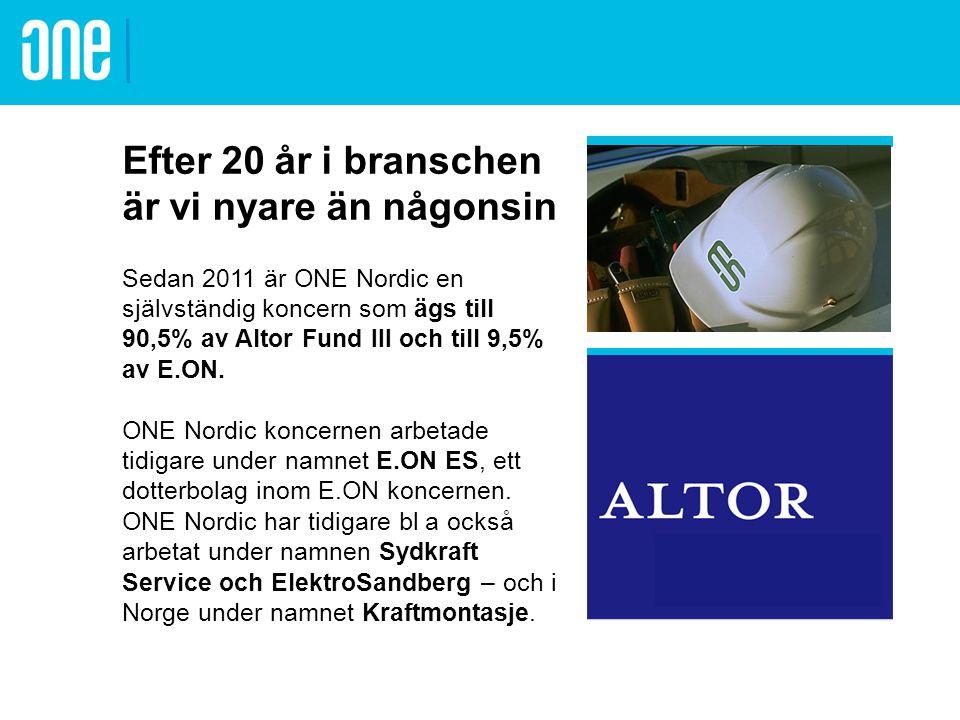 Vårt erbjudande ONE Nordic koncernen erbjuder marknaden tekniska tjänster, service & underhåll och entreprenad inom energiproduktion, eldistribution, industri & förvaltning, trafik och belysning.tekniska tjänsterservice & underhåll entreprenad Kärnkraft Kraftvärme Vattenkraft Drift- kommunikation Drift- kommunikation Transmissionsnät Regionnät Distributionsnät Transmissionsnät Regionnät Distributionsnät Industri Förvaltning Trafik Belysning Mätteknik Vindkraft Stationer Skog & mark