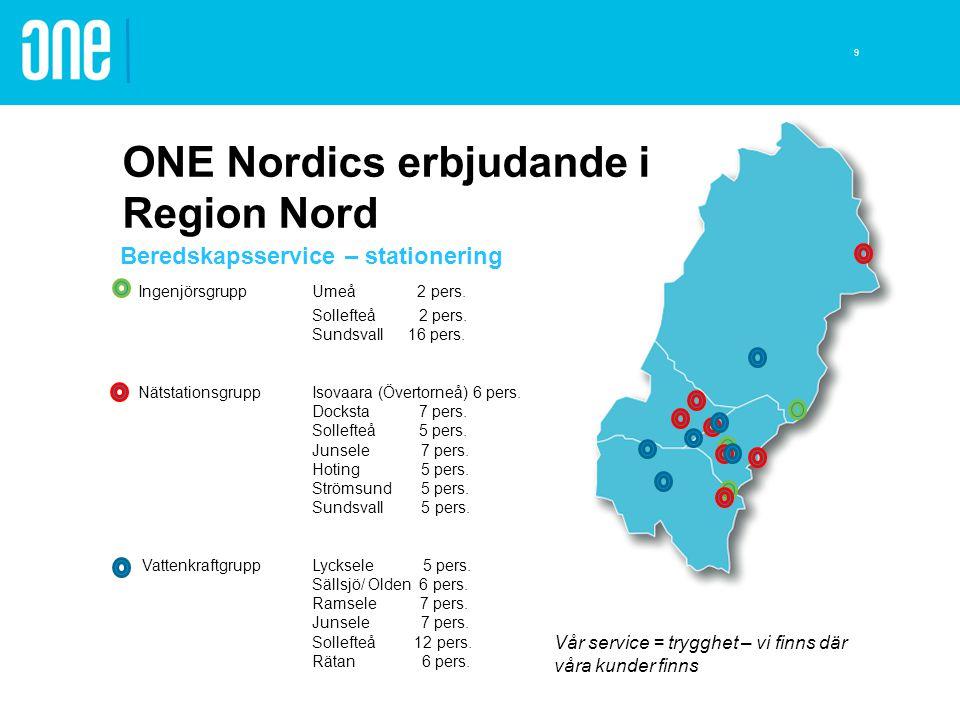 ONE Nordics erbjudande i Region Nord Beredskapsservice – stationering IngenjörsgruppUmeå 2 pers. Sollefteå 2 pers. Sundsvall 16 pers. Nätstationsgrupp