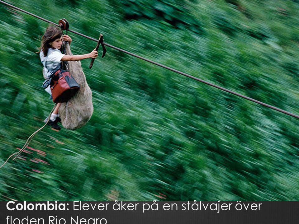 Colombia: Elever åker på en stålvajer över floden Rio Negro.
