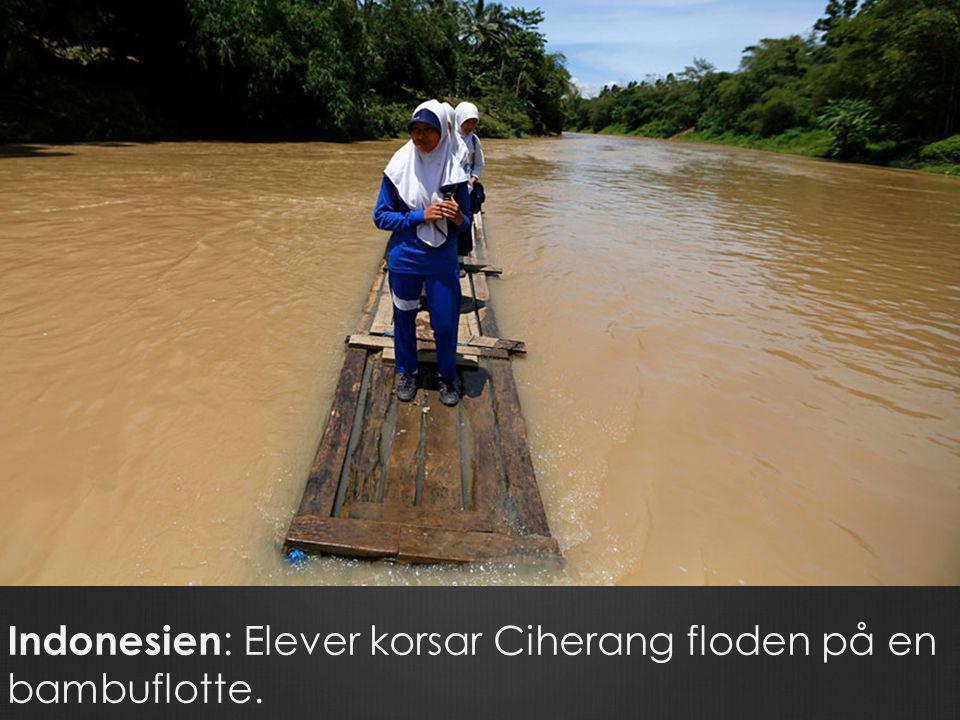 Indonesien : Elever korsar Ciherang floden på en bambuflotte.