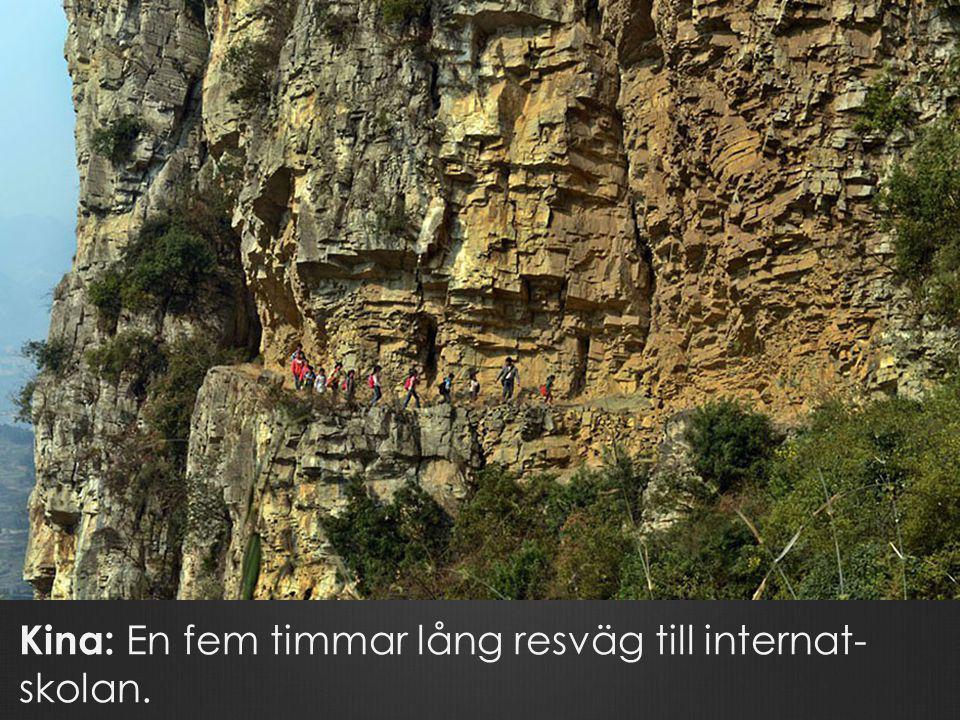 Kina: En fem timmar lång resväg till internat- skolan.