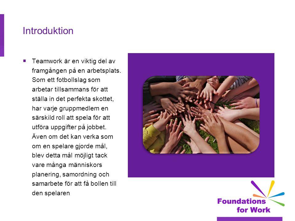 Teamwork Teamwork handlar om att bygga relationer och arbeta med andra människor med hjälp av ett antal viktiga färdigheter och vanor:  Att arbeta i samverkan  Att bidra till grupper med idéer, förslag och insats  Kommunikation (både ge och ta emot)  Känsla av ansvar  Hälsosam respekt för olika åsikter, seder och individuella preferenser  Möjlighet att delta i gruppbeslutsfattandet