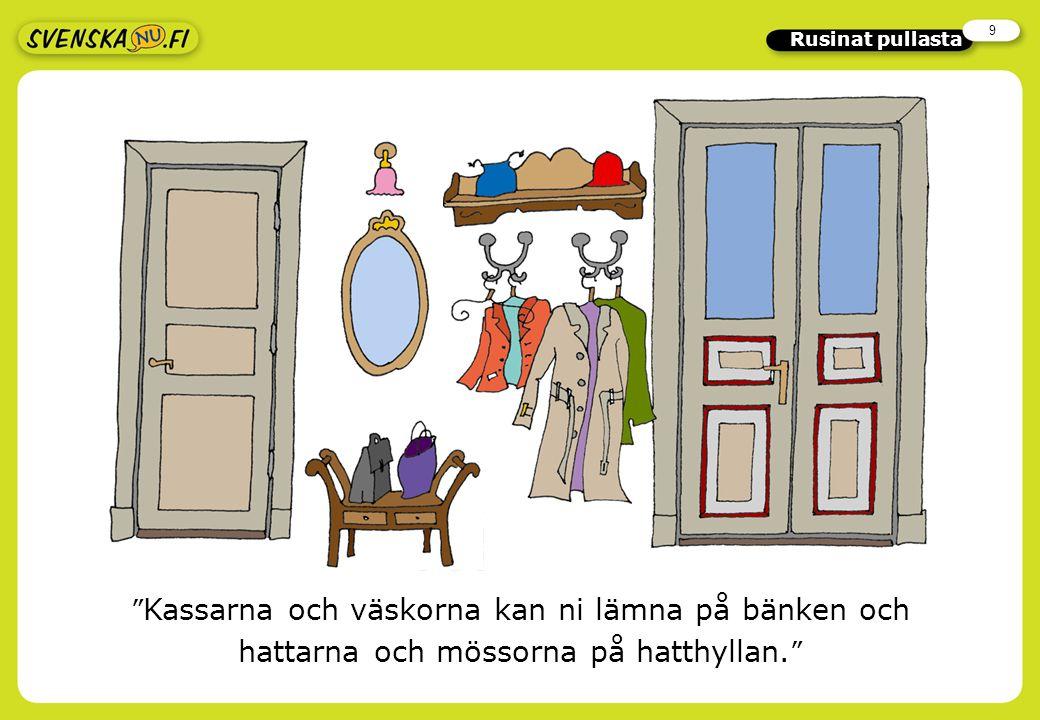 9 Rusinat pullasta Kassarna och väskorna kan ni lämna på bänken och hattarna och mössorna på hatthyllan.