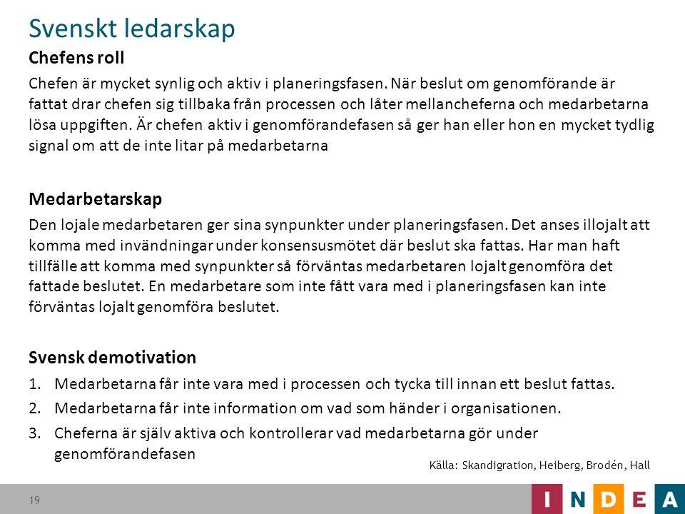 Svenskt ledarskap Chefens roll Chefen är mycket synlig och aktiv i planeringsfasen. När beslut om genomförande är fattat drar chefen sig tillbaka från