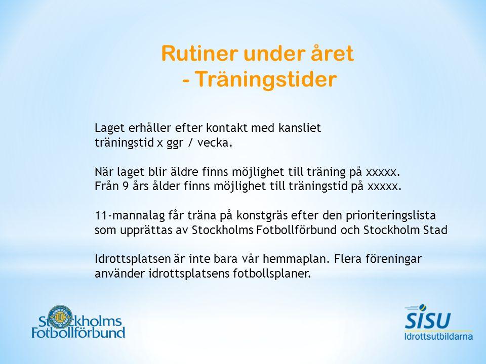 Rutiner under året - Träningstider Laget erhåller efter kontakt med kansliet träningstid x ggr / vecka.