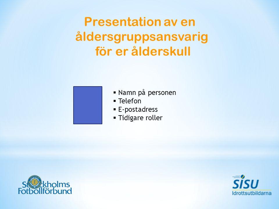 Presentation av en åldersgruppsansvarig för er ålderskull  Namn på personen  Telefon  E-postadress  Tidigare roller
