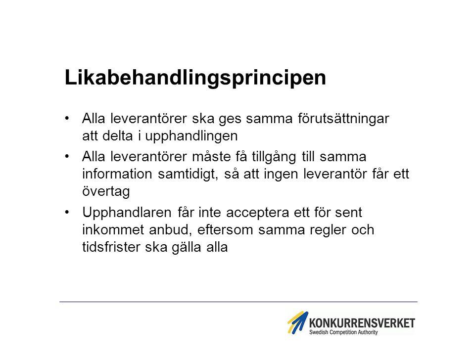 Likabehandlingsprincipen Alla leverantörer ska ges samma förutsättningar att delta i upphandlingen Alla leverantörer måste få tillgång till samma info