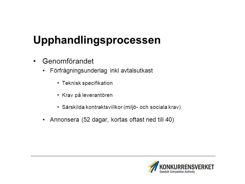 Upphandlingsprocessen Genomförandet Förfrågningsunderlag inkl avtalsutkast Teknisk specifikation Krav på leverantören Särskilda kontraktsvillkor (milj