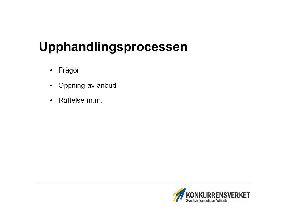 Upphandlingsprocessen Frågor Öppning av anbud Rättelse m.m.