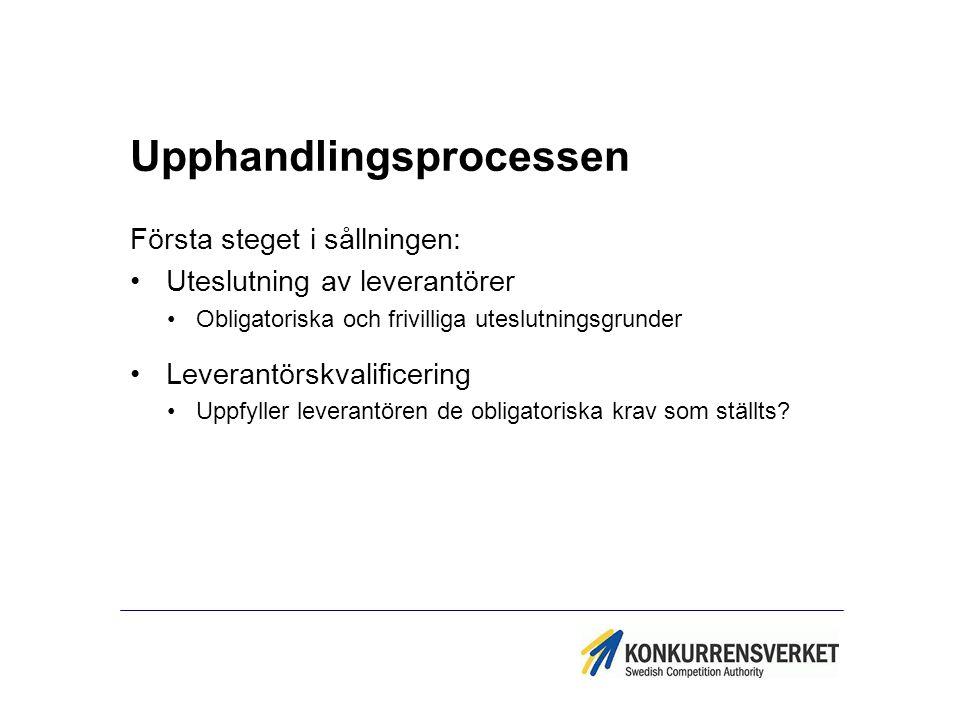 Upphandlingsprocessen Första steget i sållningen: Uteslutning av leverantörer Obligatoriska och frivilliga uteslutningsgrunder Leverantörskvalificerin