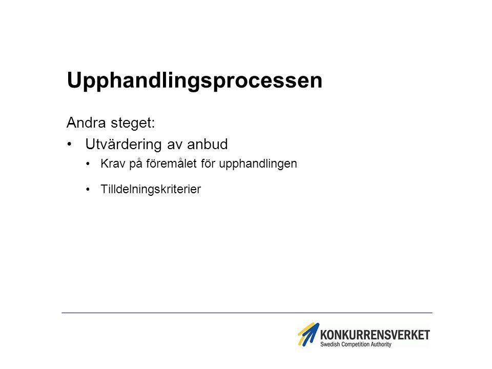 Upphandlingsprocessen Andra steget: Utvärdering av anbud Krav på föremålet för upphandlingen Tilldelningskriterier