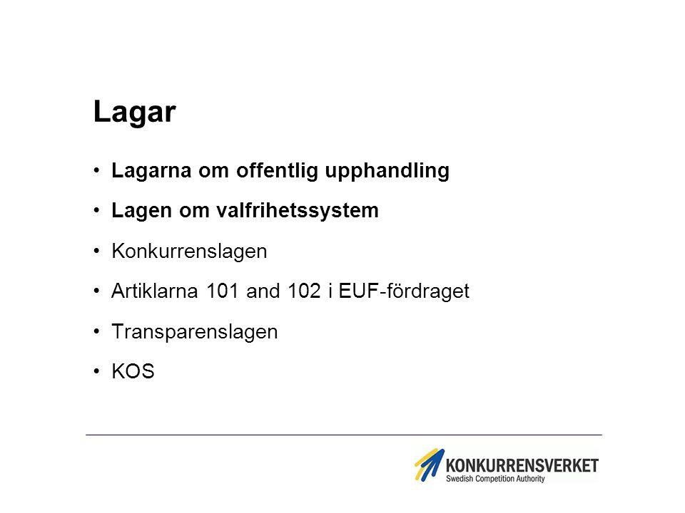 Lagar Lagarna om offentlig upphandling Lagen om valfrihetssystem Konkurrenslagen Artiklarna 101 and 102 i EUF-fördraget Transparenslagen KOS