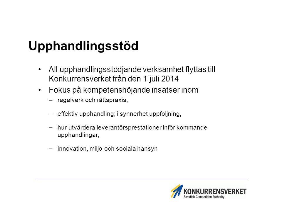 Upphandlingsstöd All upphandlingsstödjande verksamhet flyttas till Konkurrensverket från den 1 juli 2014 Fokus på kompetenshöjande insatser inom –rege