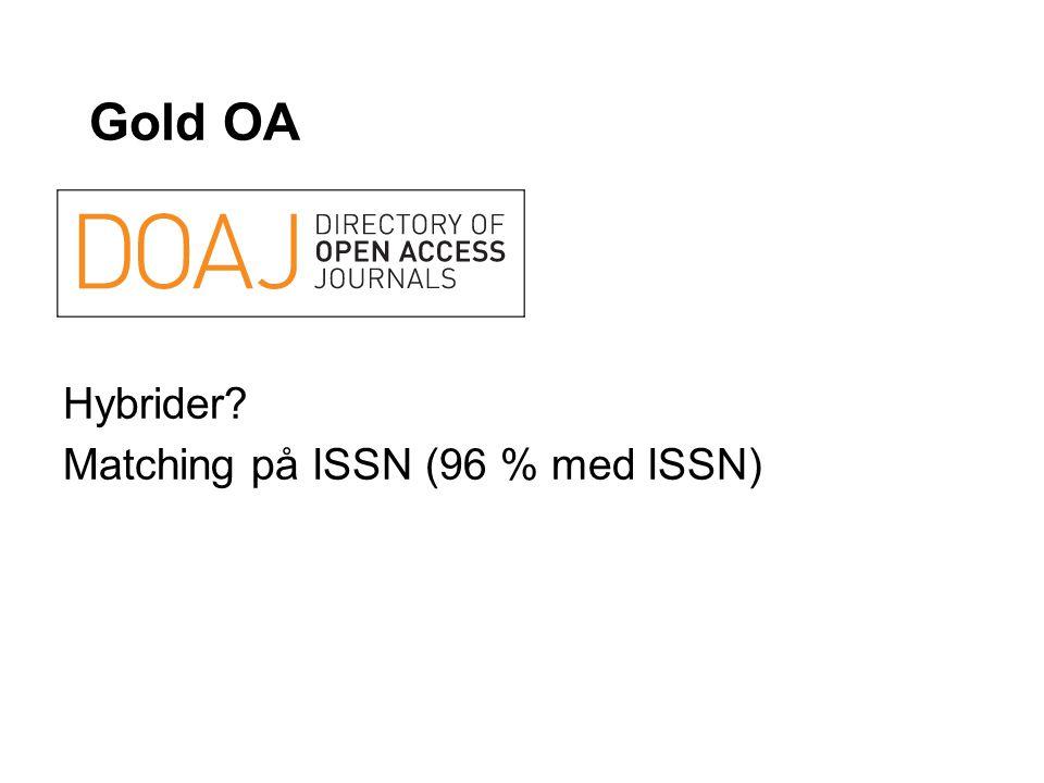 Gold OA Hybrider? Matching på ISSN (96 % med ISSN)