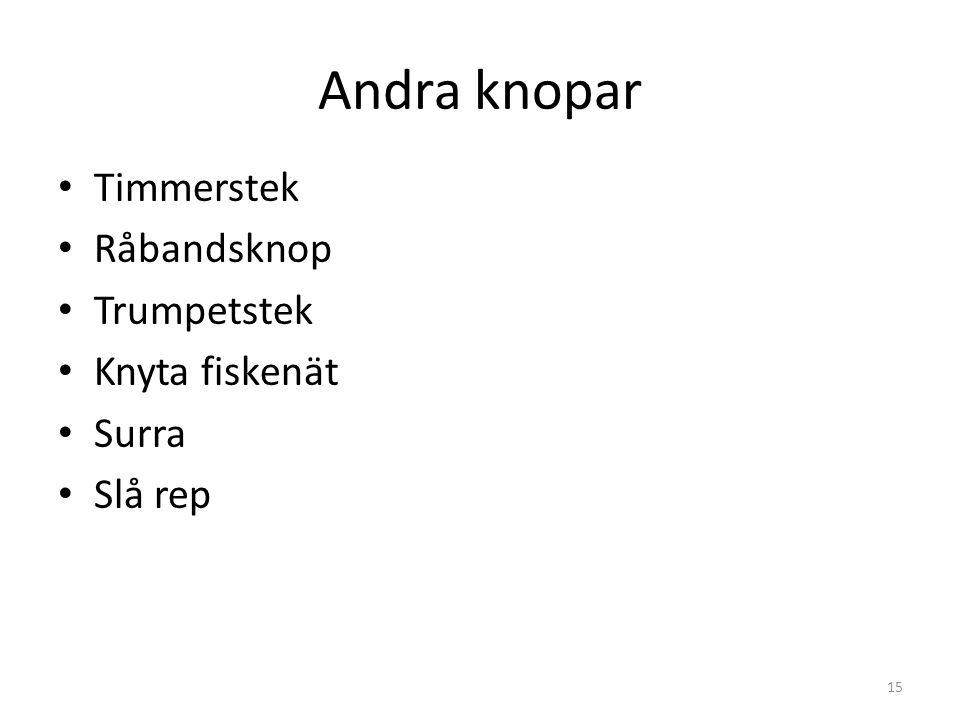 Andra knopar Timmerstek Råbandsknop Trumpetstek Knyta fiskenät Surra Slå rep 15