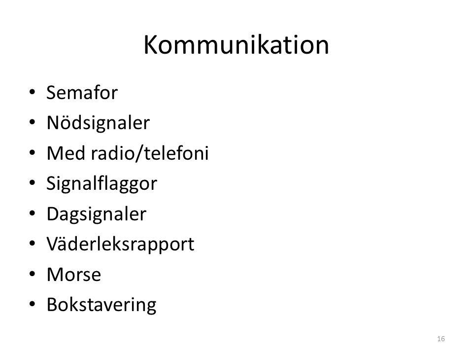Kommunikation Semafor Nödsignaler Med radio/telefoni Signalflaggor Dagsignaler Väderleksrapport Morse Bokstavering 16