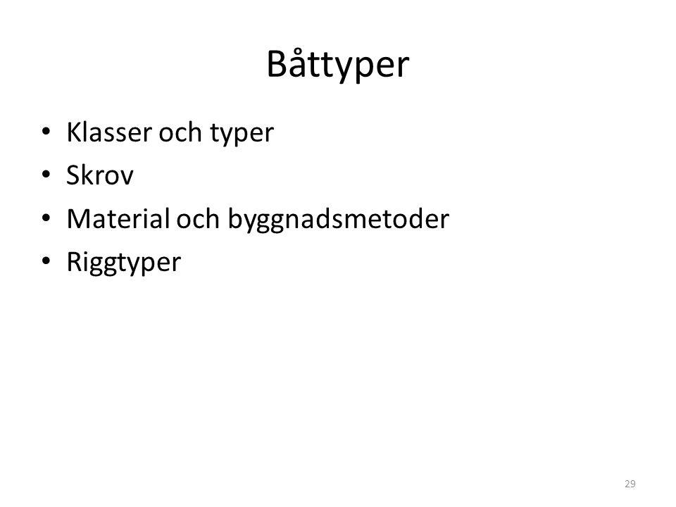 Båttyper Klasser och typer Skrov Material och byggnadsmetoder Riggtyper 29