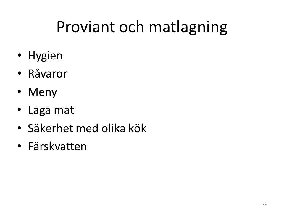 Proviant och matlagning Hygien Råvaror Meny Laga mat Säkerhet med olika kök Färskvatten 30